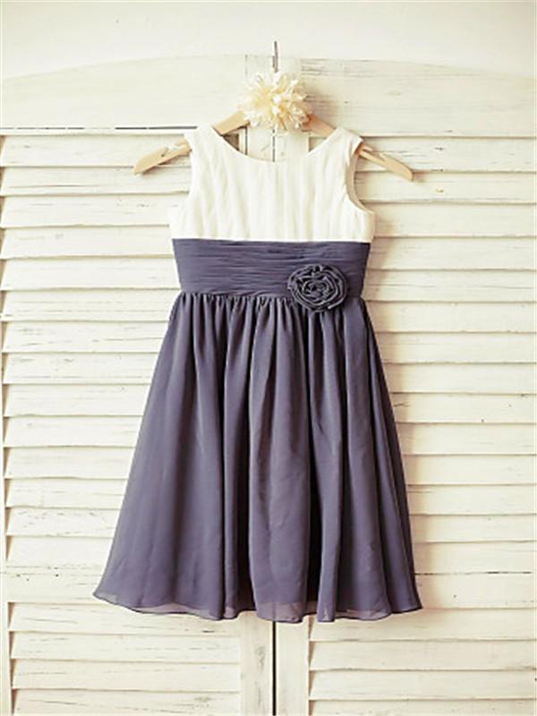 A-line/Princess Scoop Sleeveless Ruffles Floor-Length Chiffon Flower Girl Dresses