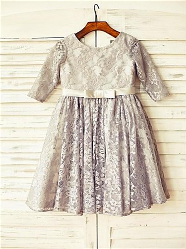 A-line/Princess Scoop 3/4 Sleeves Floor-Length Lace Flower Girl Dresses