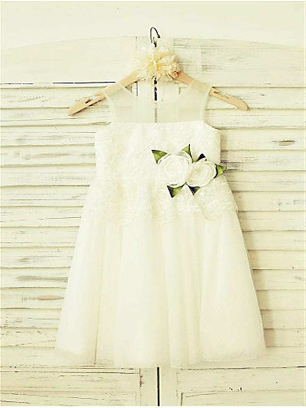 A-line/Princess Straps Sleeveless Hand-made Flower Floor-Length Tulle Flower Girl Dresses