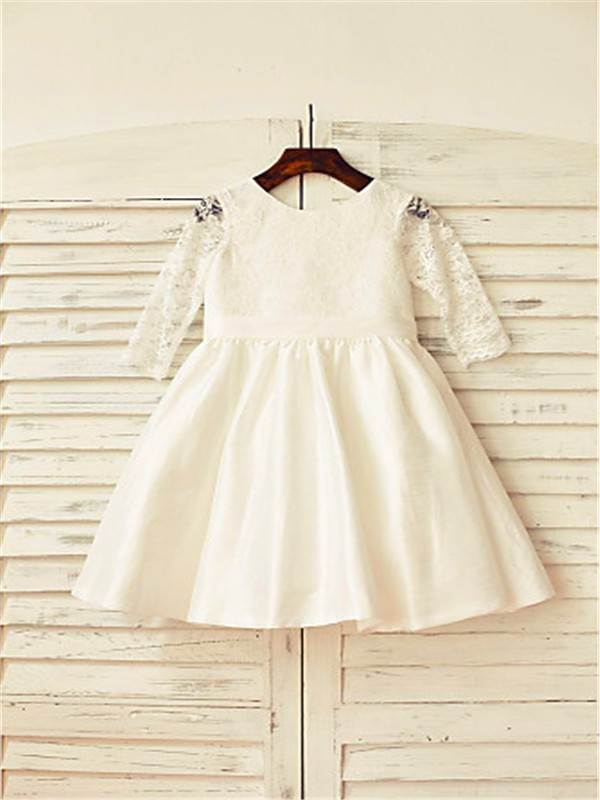 A-line/Princess Jewel Long Sleeves Lace Tea-Length Satin Flower Girl Dresses