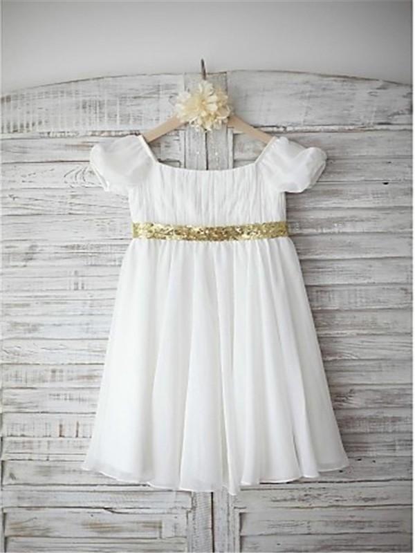 A-line/Princess Bateau Short Sleeves Beading Floor-Length Chiffon Flower Girl Dresses