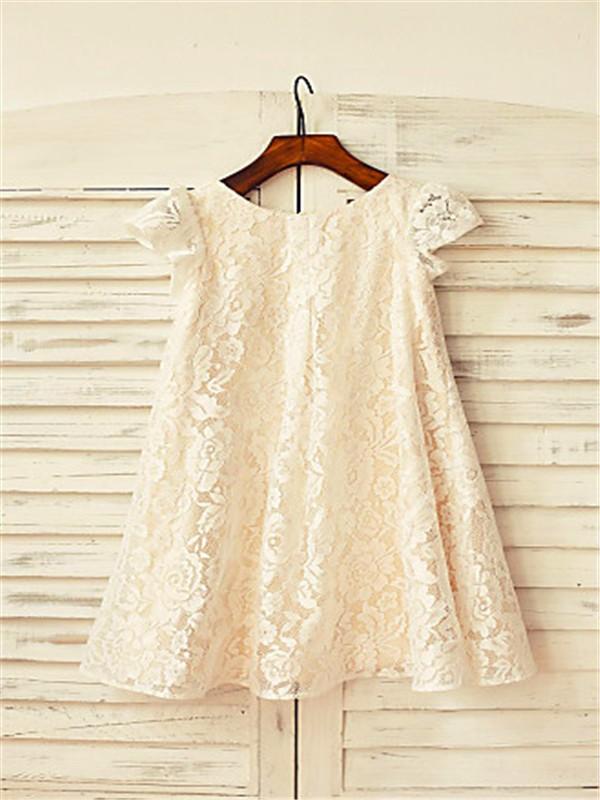 A-line/Princess Scoop Short Sleeves Tea-Length Lace Flower Girl Dresses