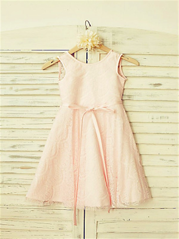 A-line/Princess Scoop Sleeveless Sash/Ribbon/Belt Tea-Length Lace Flower Girl Dresses
