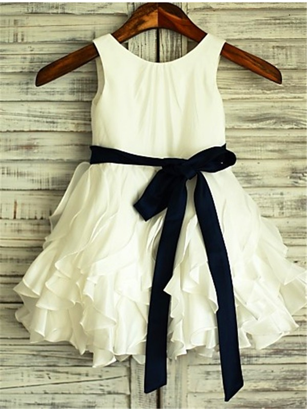 Desired Spotlight Princess Style Scoop Bowknot Tea-Length Taffeta Flower Girl Dresses
