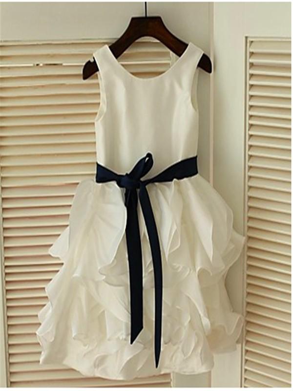 A-line/Princess Sleeveless Scoop Bowknot Tea-Length Chiffon Flower Girl Dresses