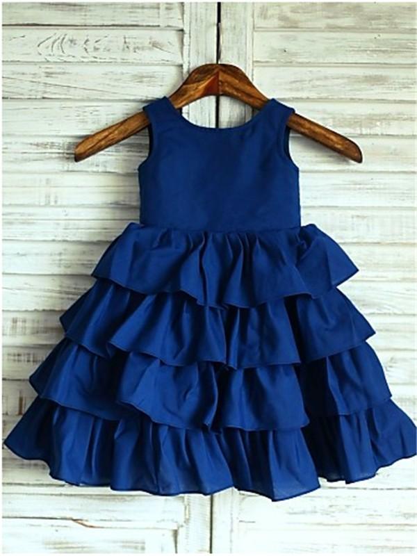 Sweet Sensation Princess Style Scoop Layers Tea-Length Chiffon Flower Girl Dresses