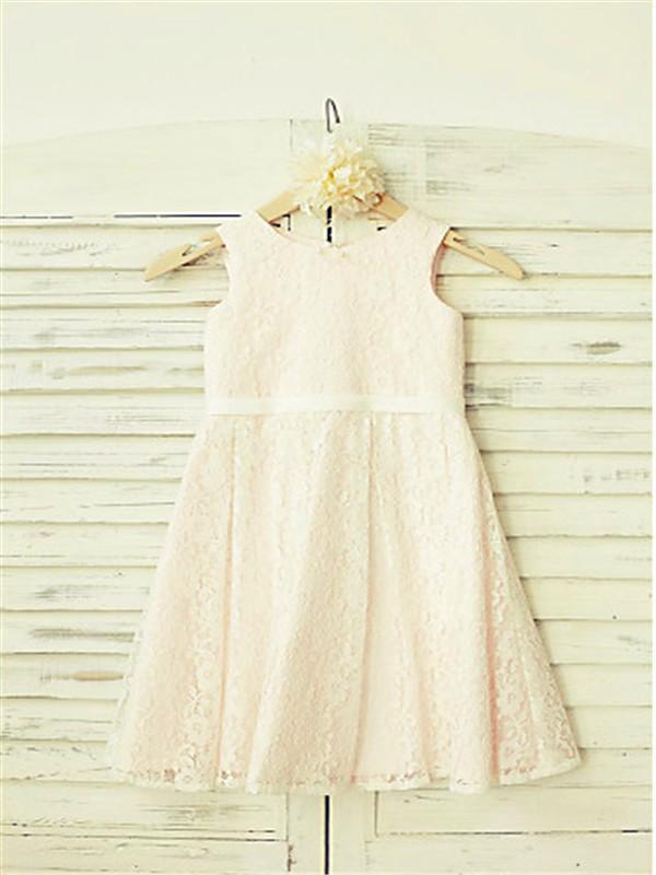 A-line/Princess Jewel Sleeveless Floor-Length Lace Flower Girl Dresses