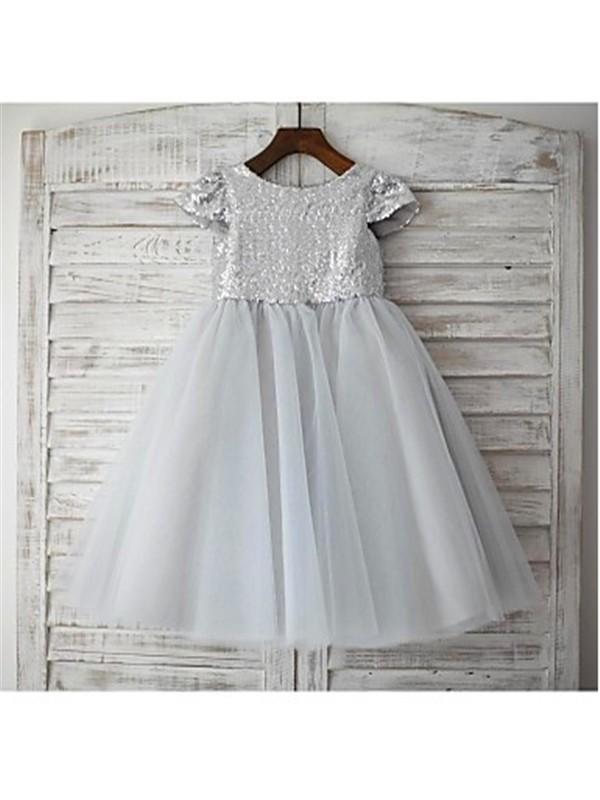 A-line/Princess Scoop Short Sleeves Sequin Floor-Length Tulle Flower Girl Dresses