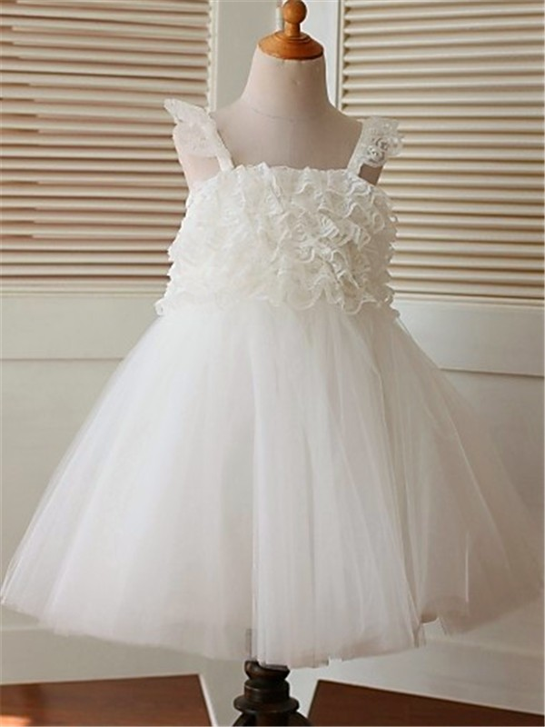 A-line/Princess Sleeveless Straps Ruffles Tea-Length Organza Flower Girl Dresses