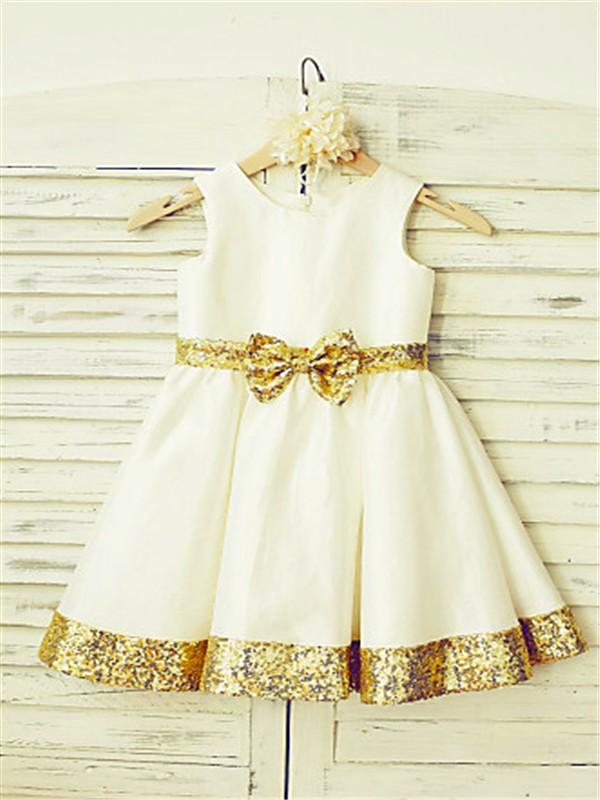 A-line/Princess Scoop Sleeveless Sequin Tea-Length Satin Flower Girl Dresses