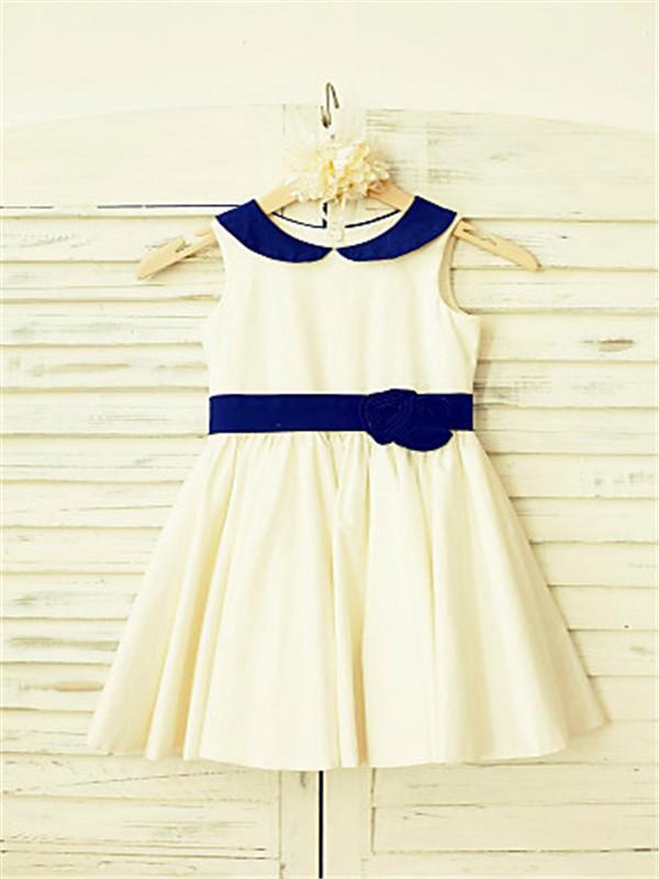 A-line/Princess Scoop Sleeveless Hand-made Flower Tea-Length Satin Flower Girl Dresses