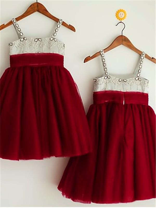 Too Much Fun Princess Style Spaghetti Straps Beading Tea-Length Tulle Flower Girl Dresses