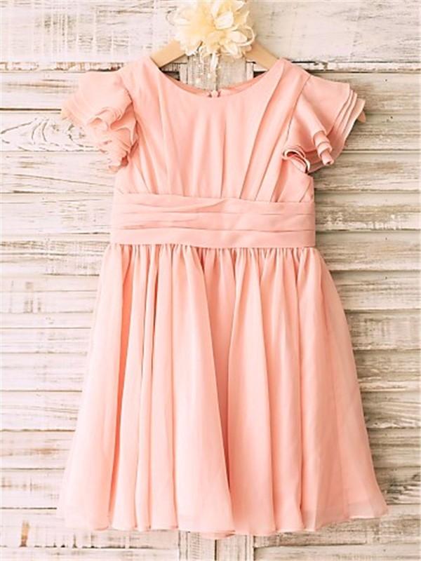 Memorable Magic Princess Style Scoop Tea-Length Chiffon Flower Girl Dresses