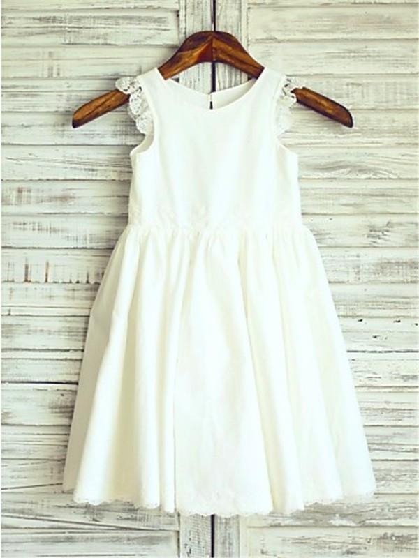 Stylish Refresh Princess Style Scoop Lace Tea-Length Chiffon Flower Girl Dresses