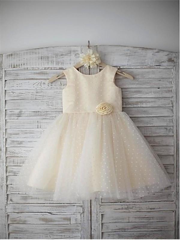 A-line/Princess Scoop Sleeveless Hand-made Flower Floor-Length Tulle Flower Girl Dresses