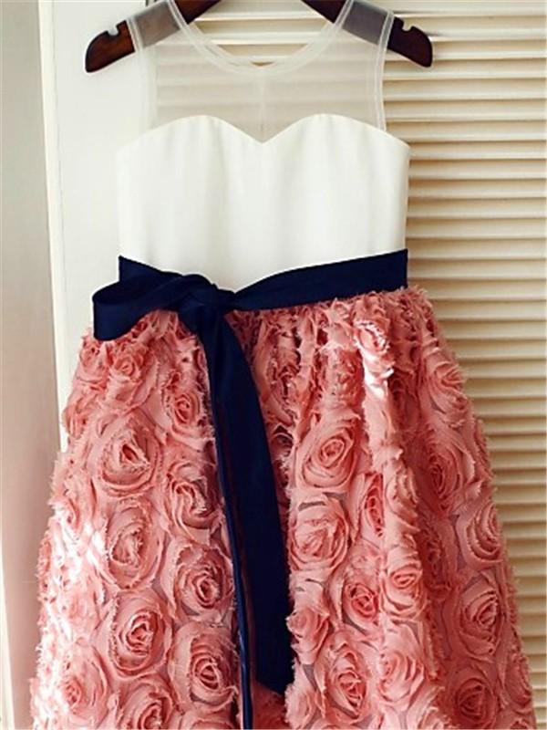 A-line/Princess Scoop Sleeveless Hand-made Flower Tea-Length Lace Flower Girl Dresses