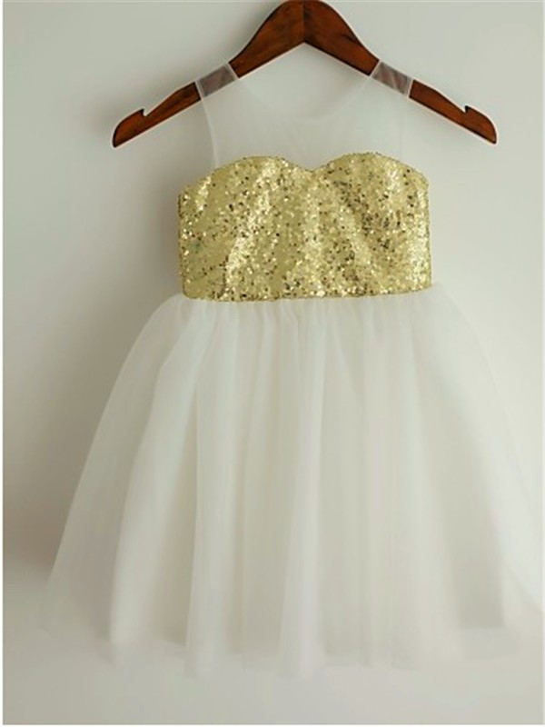 Easily Adored Princess Style Scoop Sequin Tea-Length Tulle Flower Girl Dresses