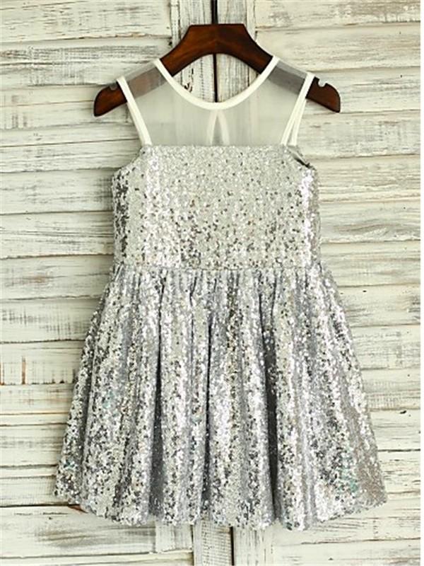 Befits Your Brilliance Princess Style Scoop Tea-Length Sequins Flower Girl Dresses