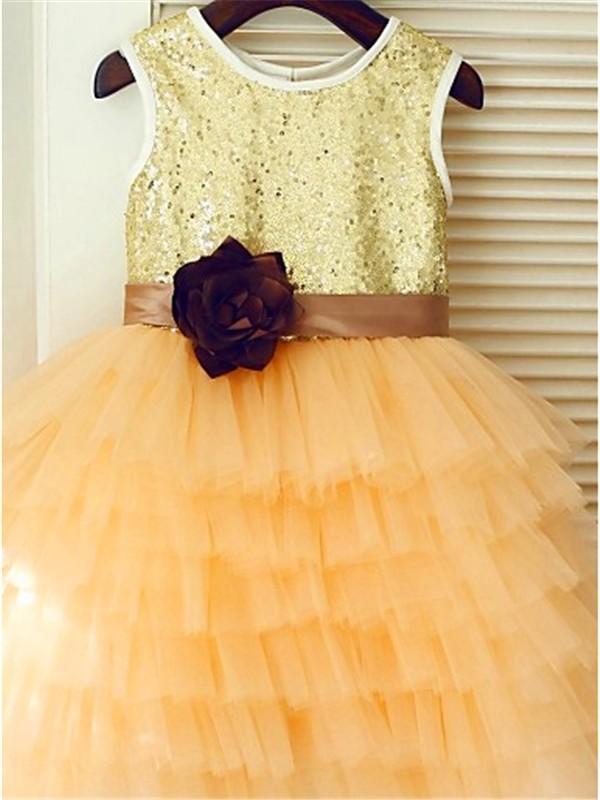 A-line/Princess Scoop Sleeveless Tea-Length Sequin Tulle Flower Girl Dresses