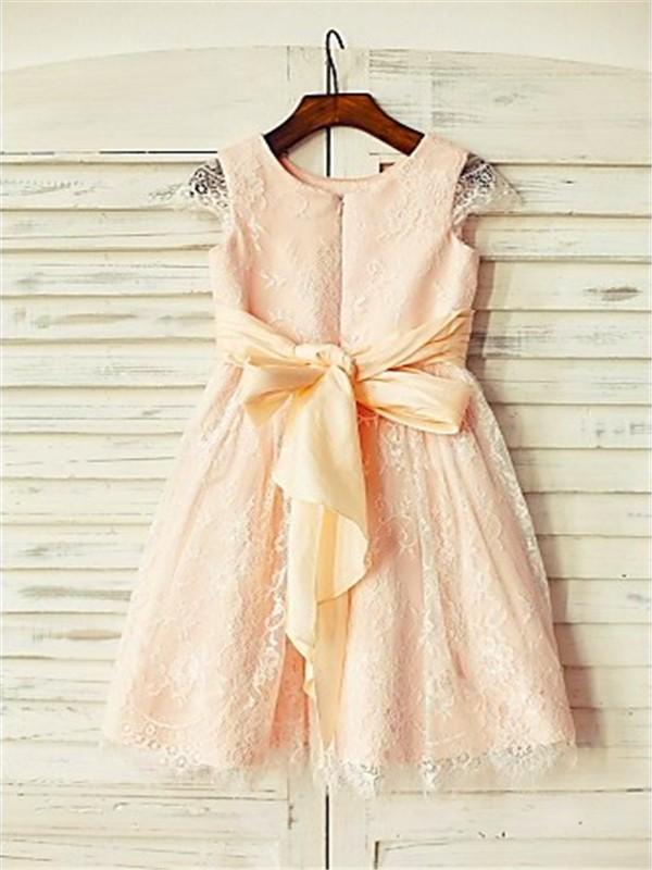 A-line/Princess Scoop Short Sleeves Sash/Ribbon/Belt Floor-Length Lace Flower Girl Dresses