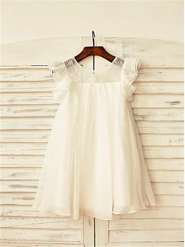 A-line/Princess Scoop Short Sleeves Lace Tea-Length Chiffon Flower Girl Dresses