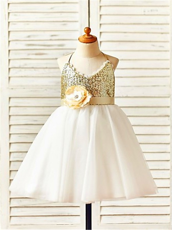 A-line/Princess Halter Sleeveless Tea-Length Sequin Tulle Flower Girl Dresses