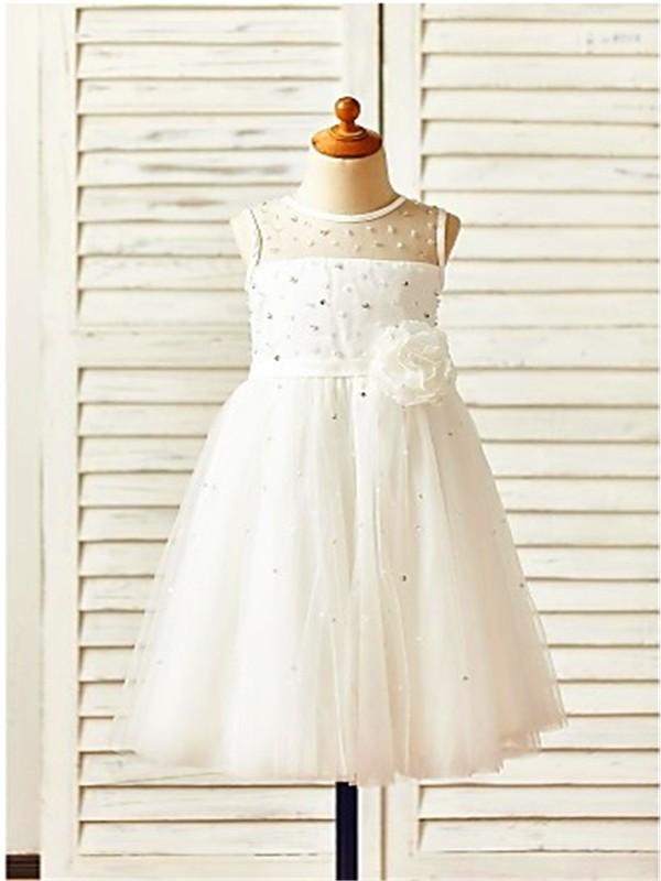 A-line/Princess Scoop Sleeveless Tea-Length Hand-made Flower Tulle Flower Girl Dresses