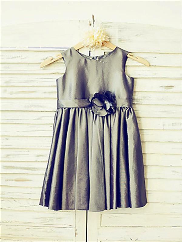 A-line/Princess Tea-Length Scoop Hand-made Flower Sleeveless Satin Flower Girl Dresses
