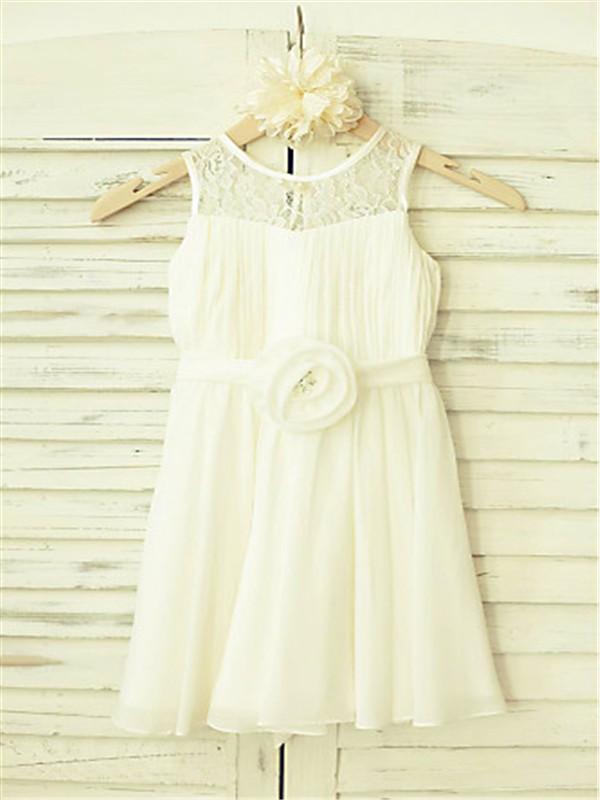 A-line/Princess Scoop Sleeveless Hand-made Flower Floor-Length Chiffon Flower Girl Dresses