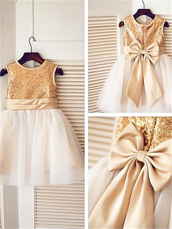 Desired Spotlight Princess Style Scoop Sequin Knee-Length Tulle Flower Girl Dresses