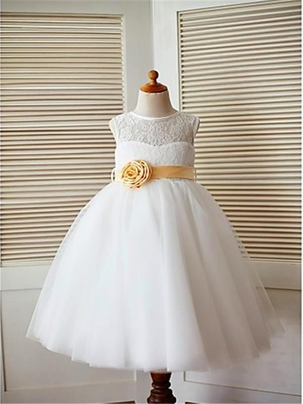 A-line/Princess Tea-Length Scoop Lace Sleeveless Tulle Flower Girl Dresses