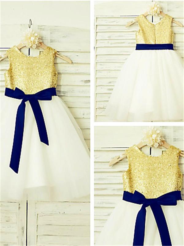 Sweet Sensation Princess Style Scoop Sequin Tea-Length Tulle Flower Girl Dresses