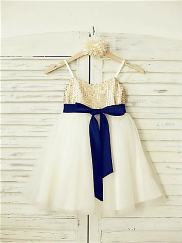 A-line/Princess Spaghetti Straps Sleeveless Sequin Ankle-Length Tulle Flower Girl Dresses