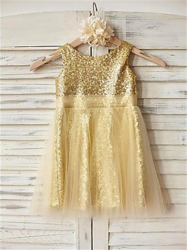 A-line/Princess Scoop Sleeveless Ruffles Tea-Length Sequins Flower Girl Dresses