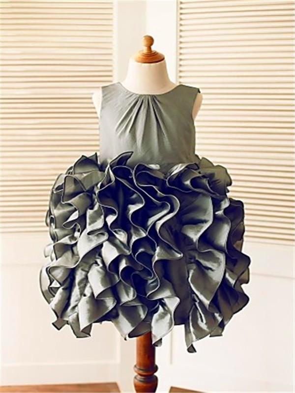 Ball Gown Sleeveless Straps Ruffles Tea-Length Tulle Flower Girl Dresses