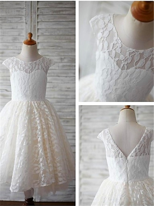 Too Much Fun Princess Style Scoop Tea-Length Lace Flower Girl Dresses
