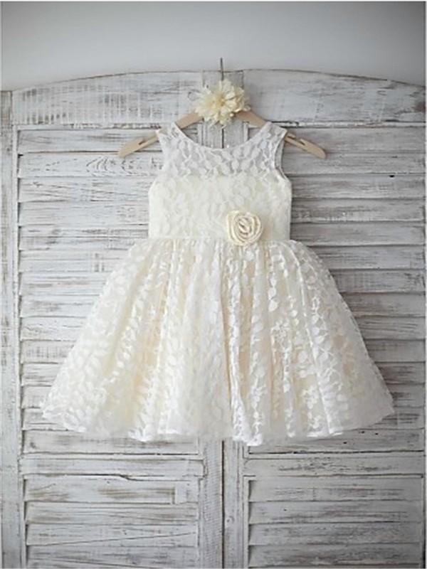 A-line/Princess Sleeveless Scoop Hand-made Flower Floor-Length Lace Flower Girl Dresses