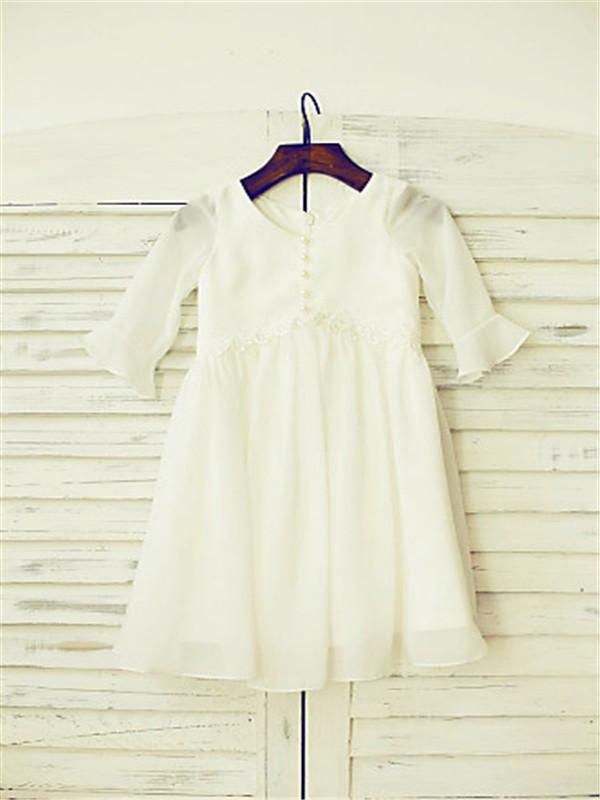 A-line/Princess Scoop Long Sleeves Ruffles Floor-Length Chiffon Flower Girl Dresses