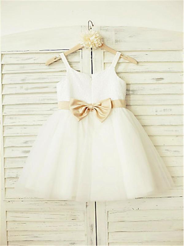 A-line/Princess Spaghetti Straps Sleeveless Bowknot Floor-Length Tulle Flower Girl Dresses