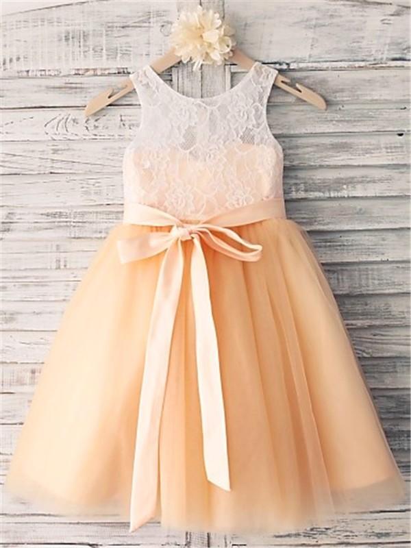 Defined Shine Princess Style Scoop Sash/Ribbon/Belt Tea-Length Tulle Flower Girl Dresses
