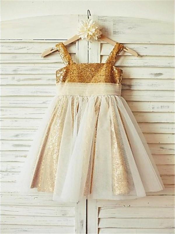 A-line/Princess Spaghetti Straps Sleeveless Ruffles Floor-Length Sequins Flower Girl Dresses
