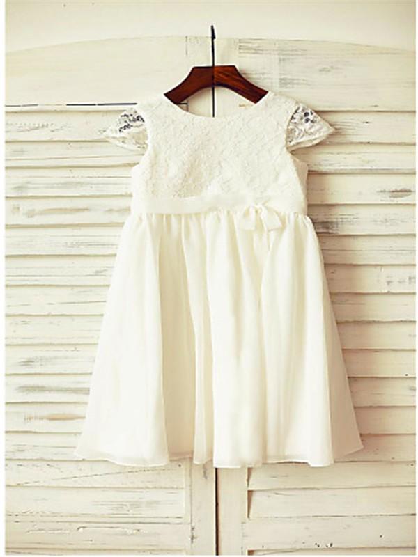 A-line/Princess Scoop Short Sleeves Lace Floor-Length Chiffon Flower Girl Dresses