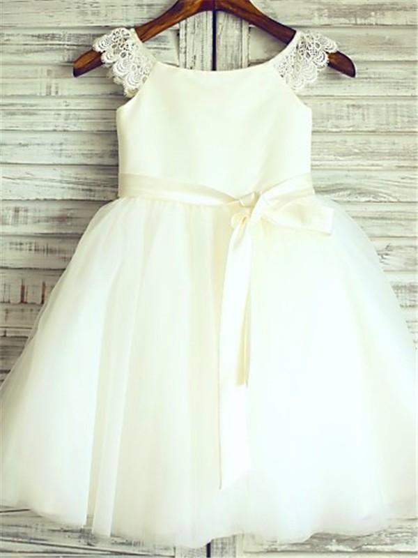 Naturally Chic Princess Style Scoop Sash/Ribbon/Belt Knee-Length Tulle Flower Girl Dresses