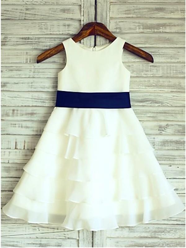 Absolute Lovely Princess Style Scoop Ruffles Tea-Length Chiffon Flower Girl Dresses