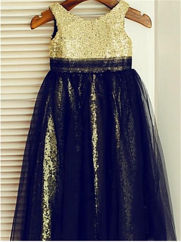 A-line/Princess Scoop Sleeveless Sequin Floor-Length Tulle Flower Girl Dresses