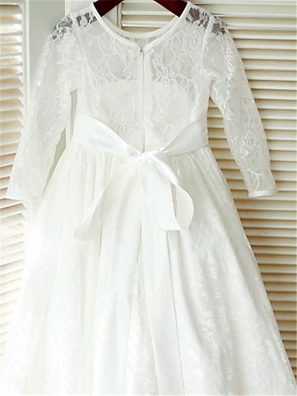 A-line/Princess Scoop Long Sleeves Bowknot Floor-Length Lace Flower Girl Dresses