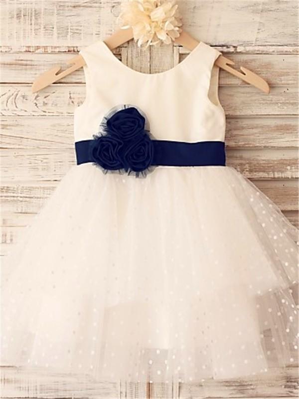 Absolute Lovely Princess Style Scoop Hand-made Flower Tea-Length Organza Flower Girl Dresses