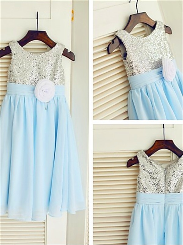 Pleasant Emphasis Princess Style Scoop Sequin Tea-Length Chiffon Flower Girl Dresses