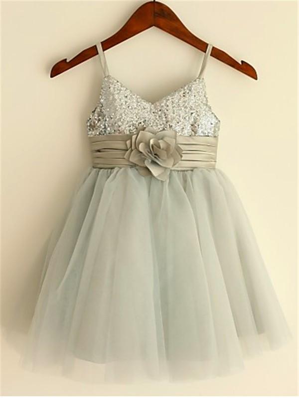 Limitless Looks Princess Style Spaghetti Straps Sequin Tea-Length Tulle Flower Girl Dresses