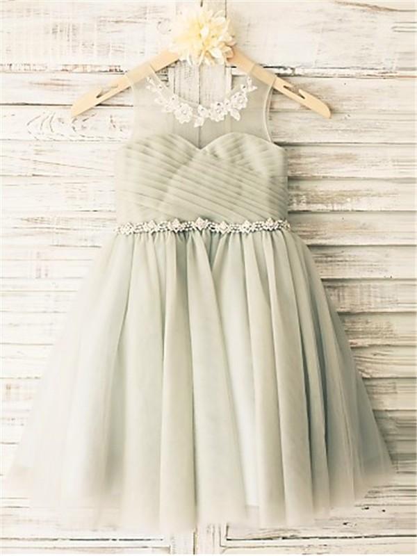 Desired Spotlight Princess Style Scoop Beading Tea-Length Tulle Flower Girl Dresses